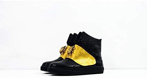 Sneek XLVI - Handmade Italiennes Cuir pour des Hommes Couleur Noir Chaussures Décontractées Sneakers - Cuir de Vachette Cuir Verni - Lacer