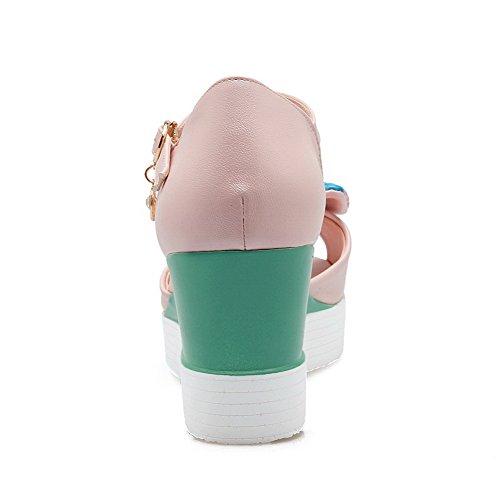 Amoonyfashion Vrouwen Pu Assort Kleur Gesp Open Teen Hoge Hakken Sandalen Roze