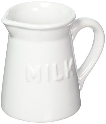 Home Essentials Vintage Ceramic Milk Pitcher / Coffee Creamer 9-Ounce Pourer (White)