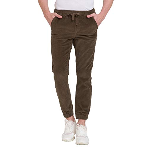 bossini Men's Jogger Pants, Solid Corduroy Cuffed Waistband Pants- Brown S,Waist 28