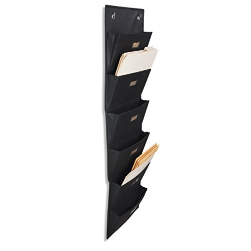 Wallniture Archivo Hanging File Folder Holder - Document Organizer with Label Tabs 6-Sectional Canvas Black (1) -