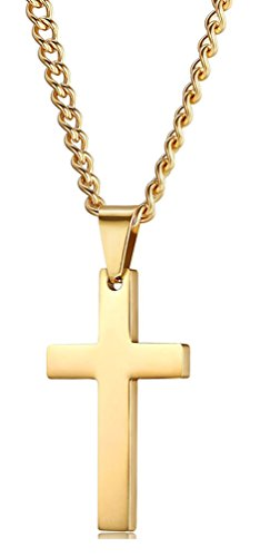 Xusamss Hip Hop Religion Gold Stainless Steel Cross Tag Pendant Necklace,22inches -
