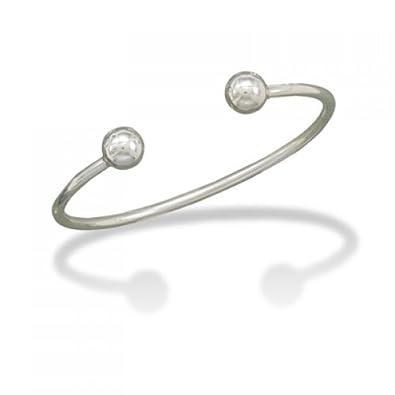 Amazon Com Mma Silver Mens Cuff Bracelet With Ball Ends Cuff
