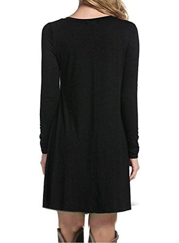 Fit Loose Aa Flowy Plain Simple Women's Tunic Dress Swing Shirt TINYHI Black T Casual qU6zt