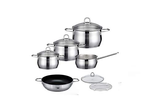ELO Cookware Stainless Steel Kitchen Induction Cookware Pots and Pans Set with Shock Resistant Glass Lids, 10-Piece