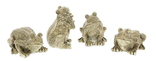 (Lucky Winner Set of 4 Assorted Faux Stone Resin Frog Figurines)