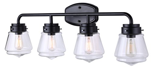 Canarm Lochlan 4 Light Vanity Light with Clear Glass - Matte Black Finish - Easy Connect Included