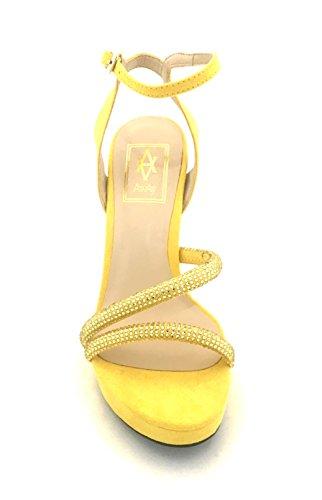 Sandal Heel Jaune Awaysandal Strass Plateau Avec Satin Yellow Élégants Mariage Diamonds Bleu Talons Whith Away P4HaF1qg