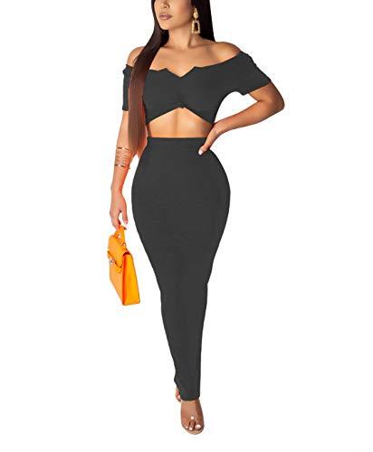 - Salimdy Women's Sexy Summer Outfits Bodycon Tube Tank Top Midi Skirt 2 Piece Dress Sundress Black M