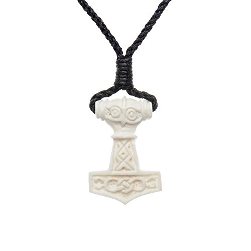 81stgeneration Women's Men's Handcarved Bone Celtic Norse Thor Hammer Amulet Charm Pendant Necklace (Carved Cow Bone Pendant)