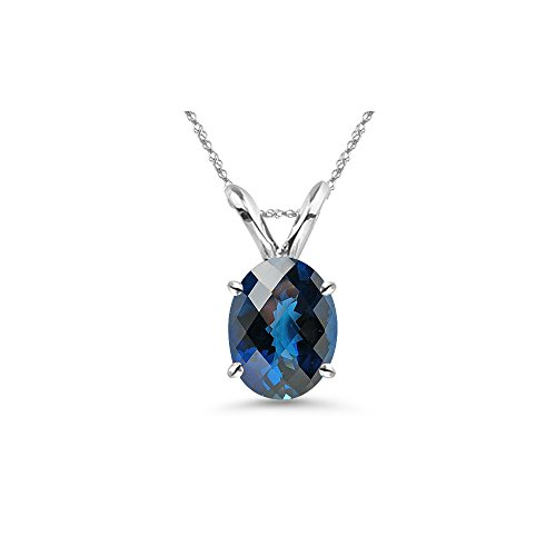 Purple Checkered Studs (8.33-9.23 Cts of 14x10 mm AAA Oval Checkered Board London Blue Topaz Solitaire Pendant in 14K White Gold)
