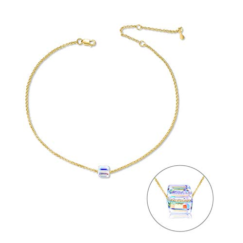 - Gold Plated 925 Sterling Silver Anklet for Women Teens Girls, Adjustable 10