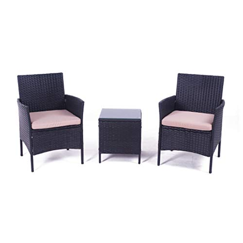 (United Flame Cafe sets 3 Pieces Outdoor Patio Furniture Sets Black Rattan Chair Wicker Set Backyard Porch Lawn Garden Balcony Furniture Set with Cushions and Glass Table All Weather RTA)
