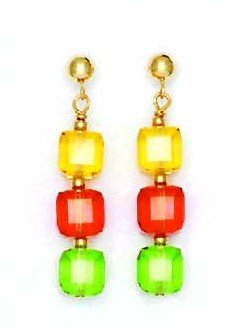 14k Yellow Gold 6 mm Cube Yellow Red and Green Crystal Earrings (14k 6 Mm Cube)
