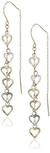 14k Heart Threader Earrings (14k Gold Tri-Color Faceted Multi Heart Threader Earrings)