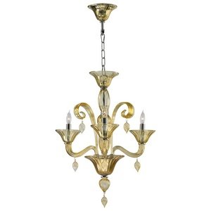 Cyan Lighting 6493-3-14 Treviso - Three Light Chandelier, Chrome Finish with Amber Murano Glass with Amber Murano (Amber Murano Glass Crystal)
