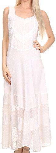 Sakkas 15225 - Zendaya Stonewashed Rayon Embroidewhite Floral Vine Sleeveless V-Neck Dress - White - L/XL