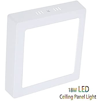 Hyperikon led flush mount ceiling light 7 square 15w 65w 886 18w led flush mount ceiling light square surface mounted panel lamp non dimmable 1440lm cool white 6000k 120v 150 beam angle lighting for aloadofball Image collections