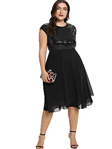 ESPRLIA Women's Empire Waist Plus Size Midi Cocktail Dress (Black, 22W) Chiffon Empire Beaded Bodice Dress