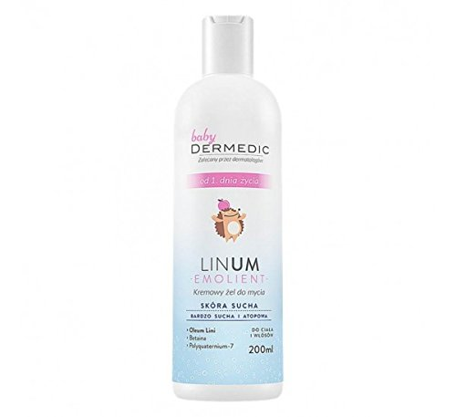 DERMEDIC - LINUM BABY - EMOLIENT - Creamy shower gel from the first day of life - 200 ml - Recommended for everyday hygiene of hair and body of children and infants with dry, very dry and atopic skin as well as skin showing symptoms of psoriasis. Can be us