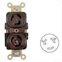 HUBBELL HBL4700, 15Amp (15A) 125V NEMA L5-15 Female Duplex Twist-Lock Receptacle