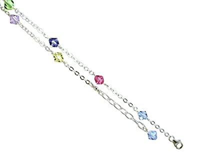 Multi-color Crystals with .925 Sterling Silver Anklet, Bracelet. 7,8,9,10,11,12,13 Inches