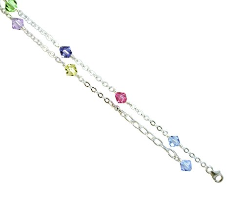 - JOSCO Multi-Color Crystals with .925 Sterling Silver Anklet, Bracelet. 7,8,9,10,11,12,13 Inches (11 Inches)