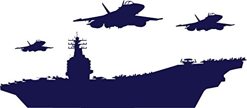 "Chic Walls Removable US Navy Aircraft Carrier Warship Airplane Jets Wall Art Décor Decal Vinyl Sticker Mural Nursery Boys Room Dark Blue 23""X7"""