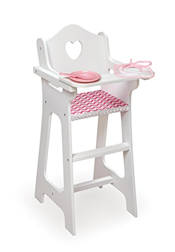 Badger Basket Doll High Chair with Plate, Bib & Spoon (Fits American Girl Dolls), Chevron/White/Pink -