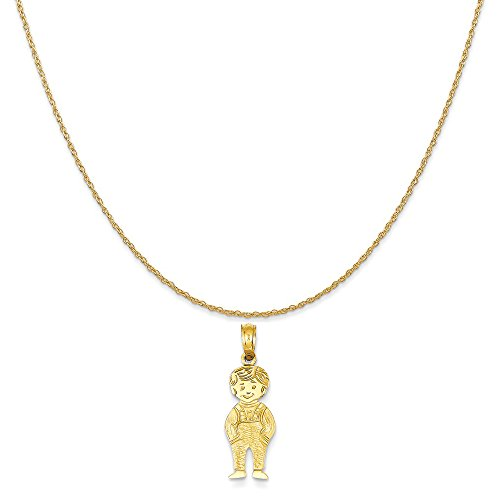 14k Yellow Gold Boy with Hands in Pocket Pendant on 14K Yellow Gold Rope Chain Necklace, 16