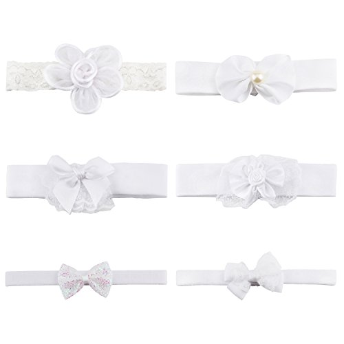 Price comparison product image KOONY Cute Baby Girls Elastic Headbands, Hair Bands - White