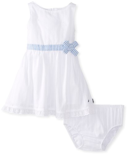 Nautica Baby-Girls Infant Woven Boat Neck Sundress, Sail White, 24 Months