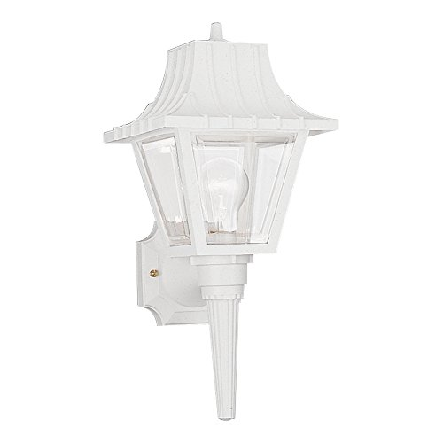 Wall Beveled Light (Sea Gull Lighting 8720-15 One-Light Outdoor Wall Lantern with Clear Beveled Acrylic Panels, White Finish)