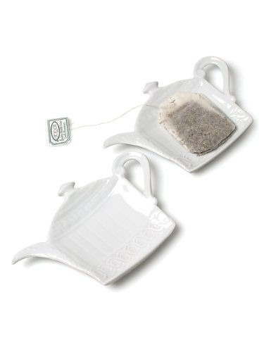 Set 6 Pieces 5'' White Porcelain Teapot Shaped Teabag Holder Tea Bag Plate Dish