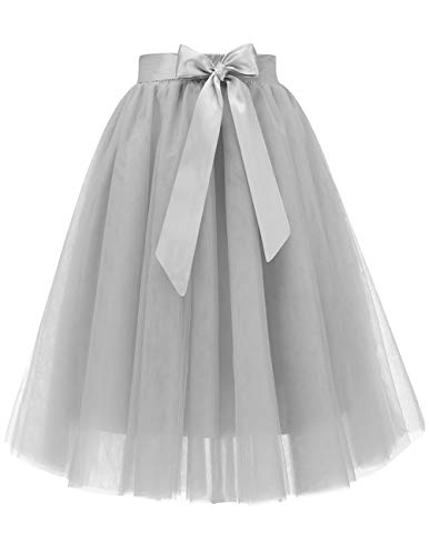 Bridesmay Women's Knee Length 5-Layered Tulle A-line Tutu Skirt Evening Party Prom Skirt Silver XL -