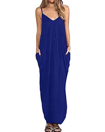 (kenoce Women's V Neck Print Spaghetti Strap Long Maxi Summer Beach Dress Sundress with Pockets Royal L)