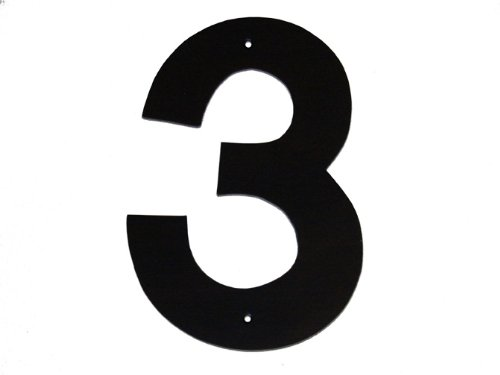 Montague Metal Products Helvetica Font Individual House Number, 3, 6-Inch Black Oval House Number