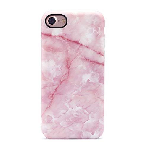 GOLINK iPhone 7 Case/iPhone 8 Case, Pink Marble Girls Slim-Fit Anti-Scratch Shock Proof Anti-Finger Print Flexible TPU Gel Case for iPhone 7/iPhone 8 - Pink Marble