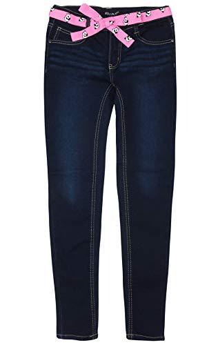 dELiA*s Girls\' Super Stretchy Denim Jeans with Colorful Sash Belt, Dark with Panda Belt Size 16' (16' Belt)