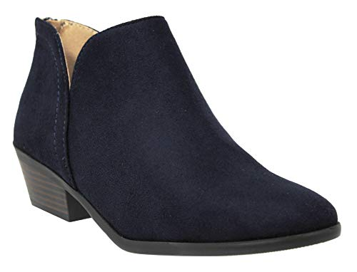 MVE Shoes Cute Western Cowboy Bootie - Womens Pointed Toe Slip On Ankle Boot -Back Zip up Low Heel, Navy ISU Size 7 ()