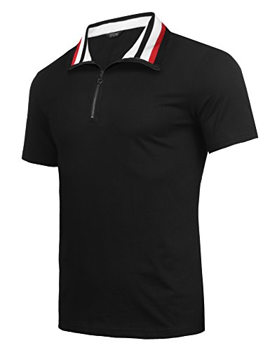 COOFANDY Men's Short Sleeve Polo Shirts Casual Slim Fit Zipper Basic Sport Polo T-Shirts (L, Black)
