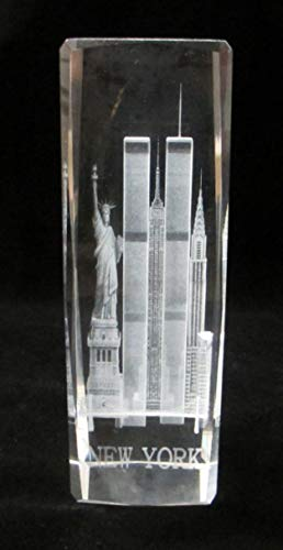 - New York Souvenir 3D Clear Crystal Laser Etched Glass Paperweight with Statue of Liberty Empire State Building Twin Tower Extra Large Size 6