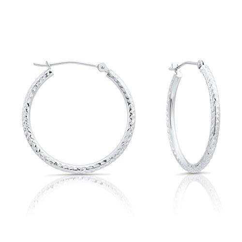 14k White Gold Fancy Diamond-cut Round Hoop Earrings, 1'' - Round Fancy Earring