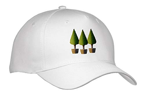 - 3dRose Russ Billington Designs - Three Little Trees in Planters Design in Brown and Green Over White - Caps - Adult Baseball Cap (Cap_294399_1)