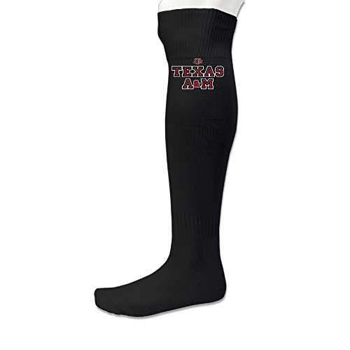 Caromn Mens Texas A M University Football Crew Dress Socks Black