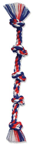 Mammoth Flossy Chews Cottonblend Color 5-Knot Rope Tug, Super X-Large 72-Inch, Assorted Colors (Large Dog Toys Rope)