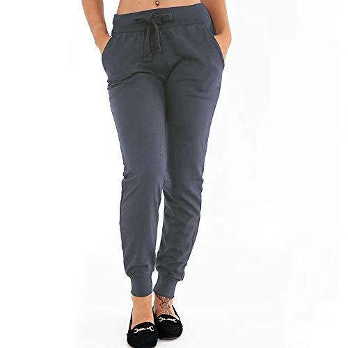 Casual Sweatpants Ladies Loose Elastic Solid Color Drawstring Beam Trousers Running Fitness Pants MEEYA Dark Gray -