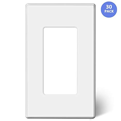 [30 Pack] BESTTEN 1-Gang Screwless Wall Plate, USWP2 Elegance White Series, Standard Outlet Cover for Light Switch, Dimmer, Sensor, Timer, and Receptacle, Residential and Commercial, UL Listed