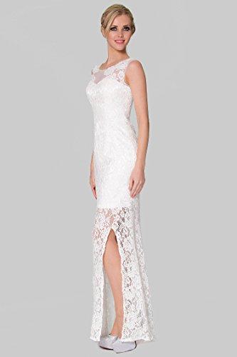 vestido SEXYHER antes de la de cubierto Tail noche EDYP8012 de dama divisi¨®n Encanto Encaje Blanco largo Fish Rwnd1qqv