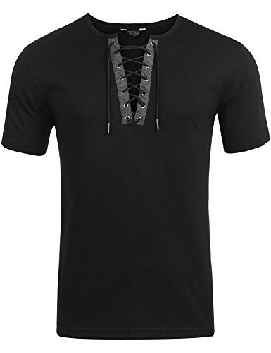 COOFANDY Men's Casual Short Sleeve T-Shirt Hippie Hip hop V-Neck Lace-Up Long Sleeve Tops (X-Large, ()